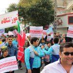 حضور پرشور جامعه ورزش و جوانان شهرستان قدس، در راهپیمایی حماسی ۱۳ آبان